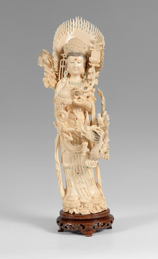 Large Chinese Carved Ivory Guanyin Figure