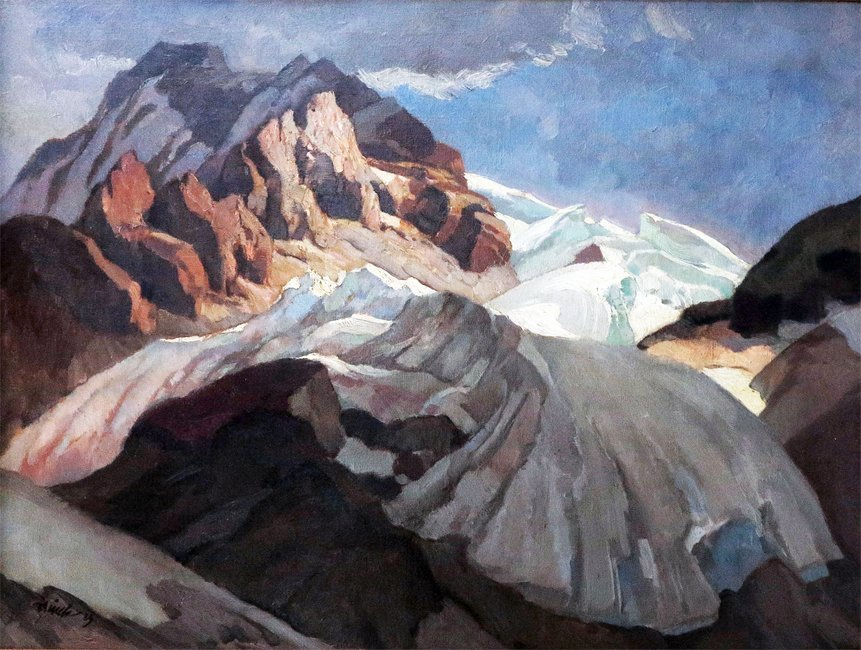 PAUL BURCK SNOWCAPPED MOUNTAINS PAINTING 1923