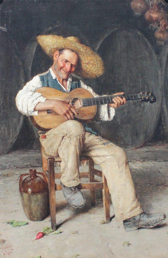GIUSEPPE GIARDIELLO ITALIAN GUITAR PLAYER PAINTING