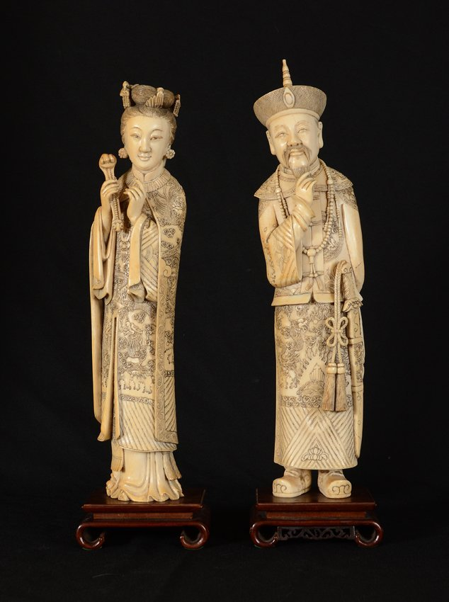 PAIR CARVED IVORY FIGURES EMPEROR AND EMPRESS ON BASES