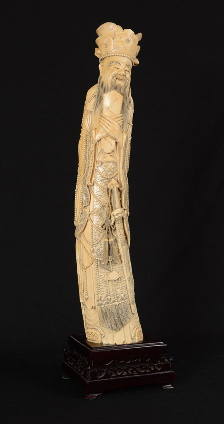 EXTRAORDINARILY LARGE CARVED IVORY EMPEROR