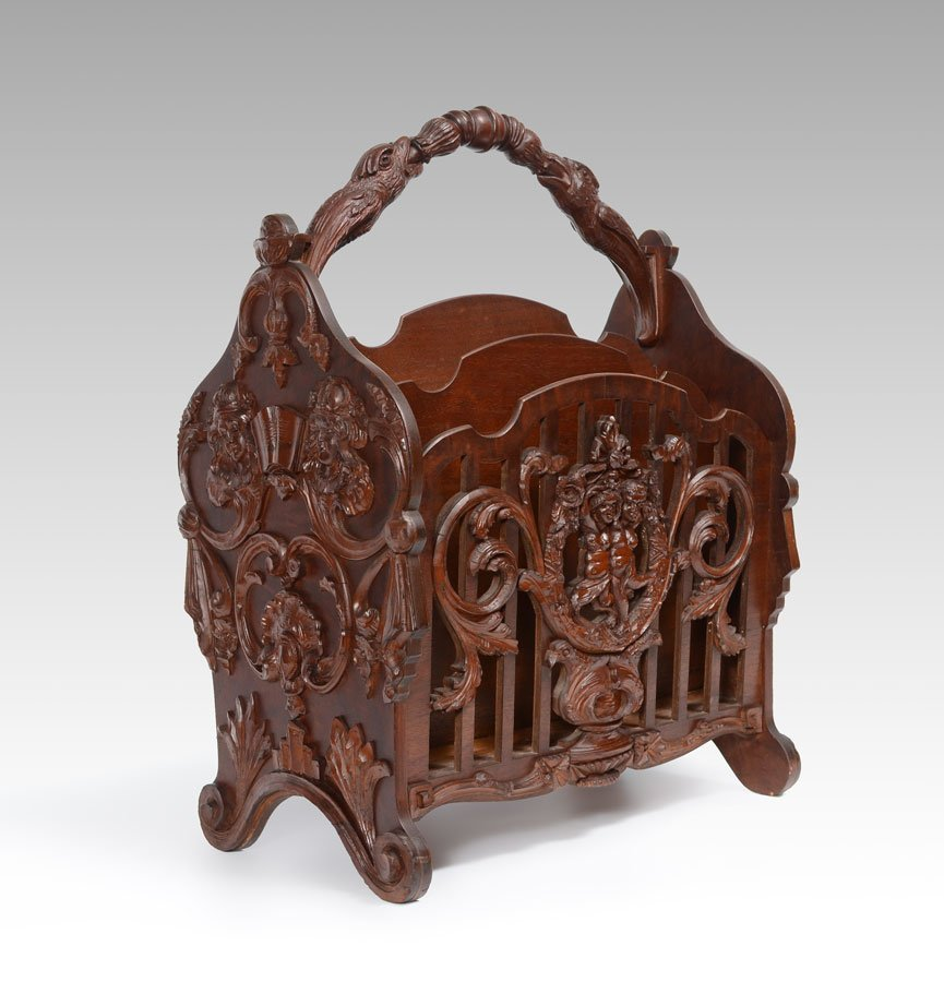 FIGURAL CARVED VICTORIAN CANTERBURY