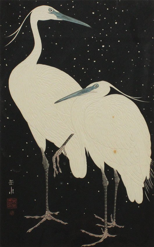 IDE GAKUSUI HERONS IN SNOW WOODBLOCK