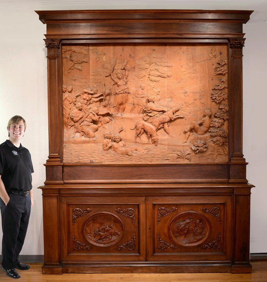 MONUMENTAL CARVED WOOD FRESCO THE HUNT OF DIANA