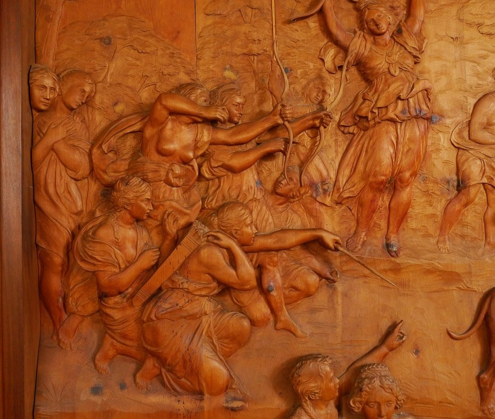 MONUMENTAL CARVED WOOD FRESCO THE HUNT OF DIANA - 3