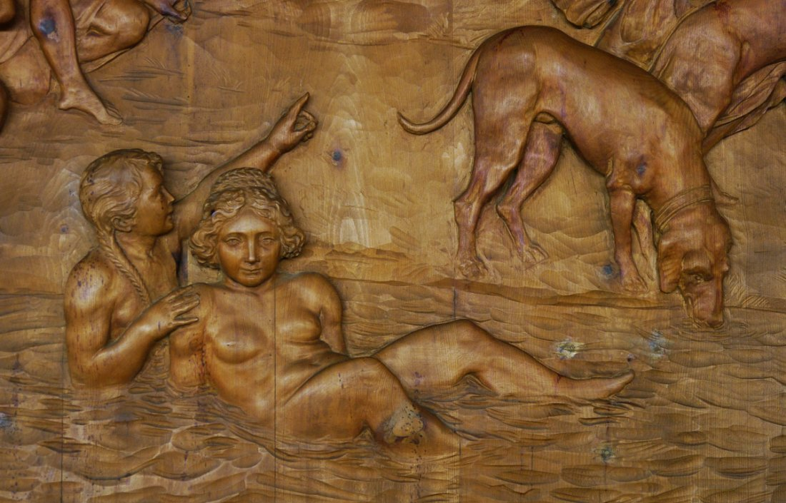 MONUMENTAL CARVED WOOD FRESCO THE HUNT OF DIANA - 4