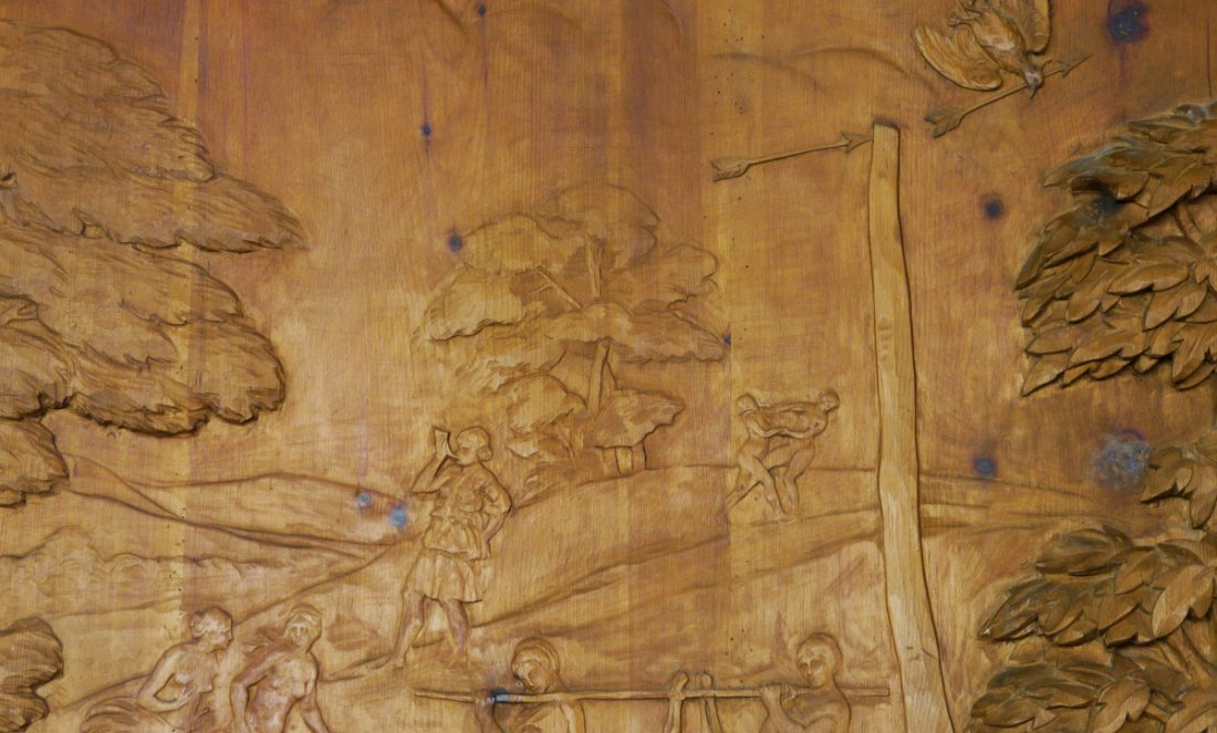 MONUMENTAL CARVED WOOD FRESCO THE HUNT OF DIANA - 5