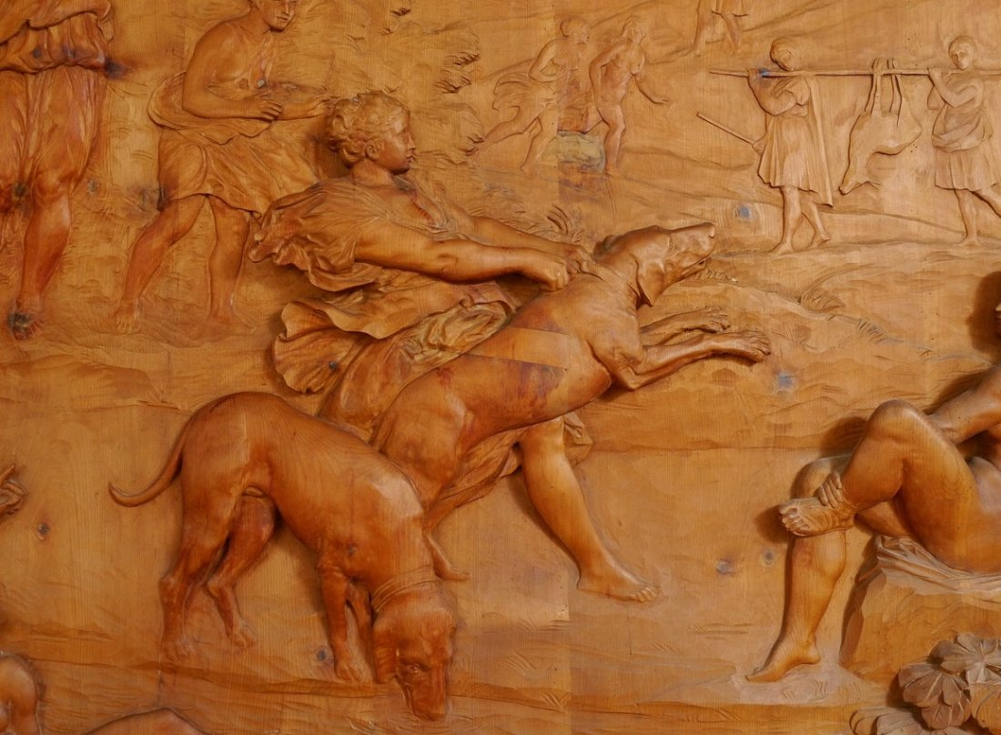 MONUMENTAL CARVED WOOD FRESCO THE HUNT OF DIANA - 6