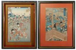 2 PIECE JAPANESE WOODBLOCK PRINT LOT UTAGAWA