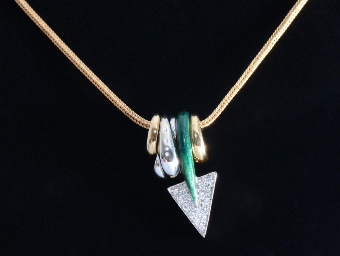 LA NOUVELLE BAGUE 18K GOLD DIAMOND NECKLACE 21.6 G