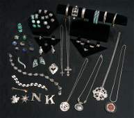 A TREMENDOUS ESTATE COLLECTION STERLING JEWELRY