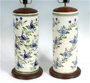 PAIR ORIENTAL EARTHENWARE LAMPS