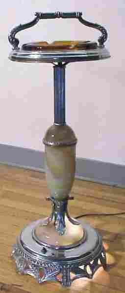 ART DECO SLAG GLASS ASH TRAY STAND