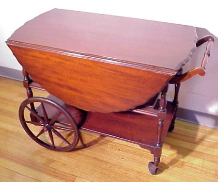 1011: MAHOGANY DROP-LEAF TEA CART