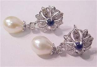 1026: PEARL, SAPPHIRE & DIAMOND EARRINGS