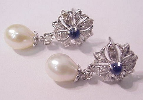 1026: PEARL, SAPPHIRE & DIAMOND EARRINGS