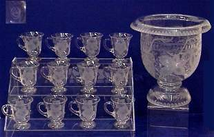 ENGRAVED GLASS PUNCH BOWL 12 CUPS GRAPE