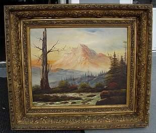 19TH C AMERICAN WESTERN MOUNTAIN SCENE