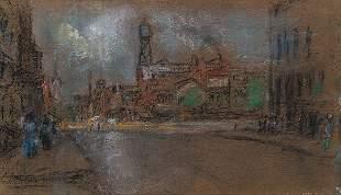 GLENN COOPER HENSHAW PASTEL CITY SCENE