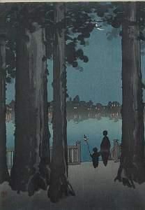 1086: PAIR OF NOCTURAL JAPANESE WOODBLOCKS