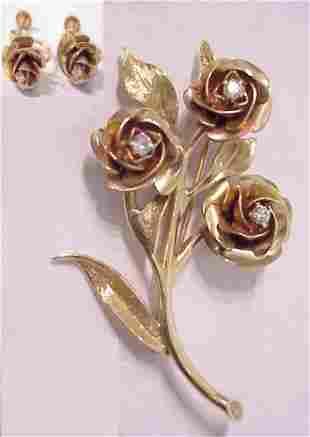 ROSE GOLD BROOCH & EARRINGS