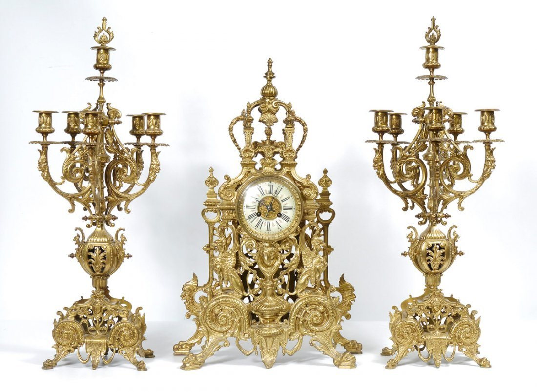 TIFFANY LOUIS XIV STYLE BRONZE CLOCK GARNITURE