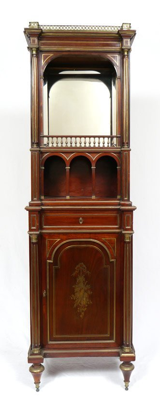BOULLE INLAY FRENCH MAHOGANY CABINET