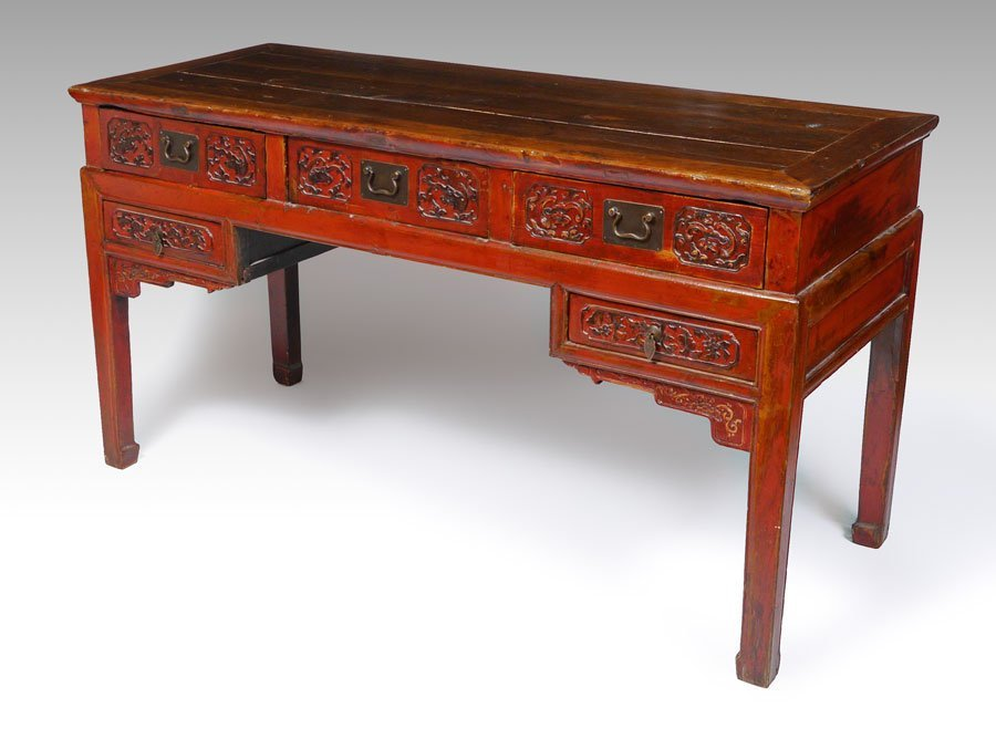 CHINESE RED LACQUER WRITING DESK