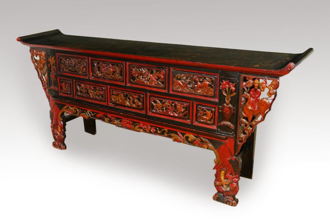 MONGOLIAN LAQUER PAINTED ALTAR TABLE 8 FT LONG