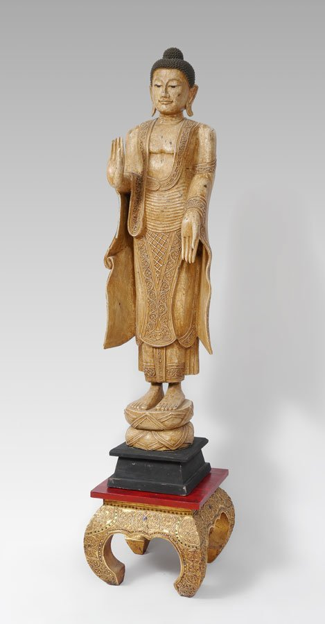 STANDING BUDDHA WITH ABHAYA AND VERADA MUDRAS