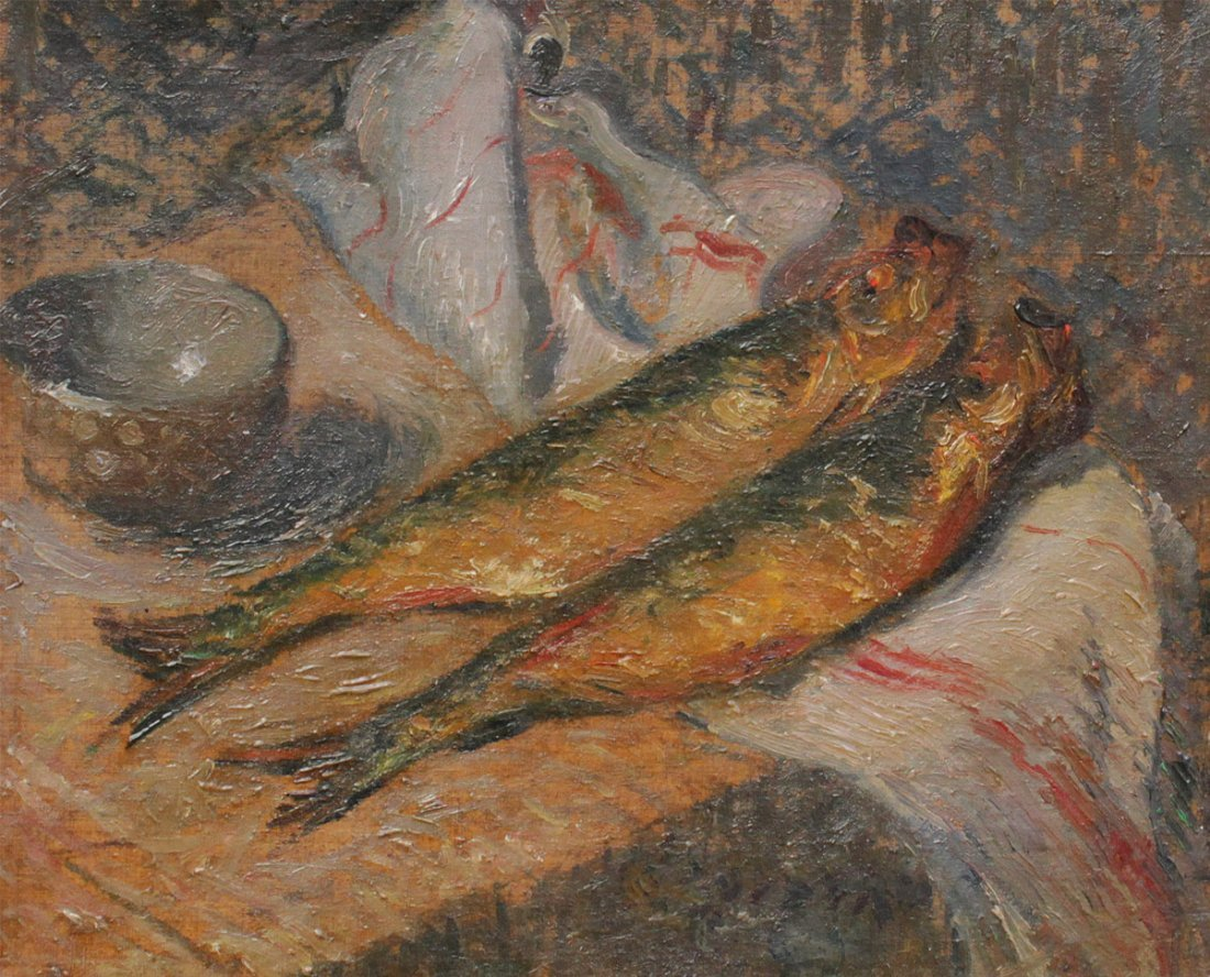 GUSTAVE LOISEAU STILL LIFE PAINTING OF FISH