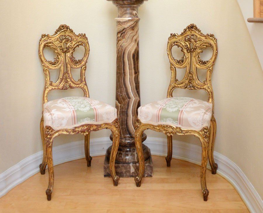 PAIR 19C DIENST SIGNED FRENCH CARVED SIDE CHAIRS