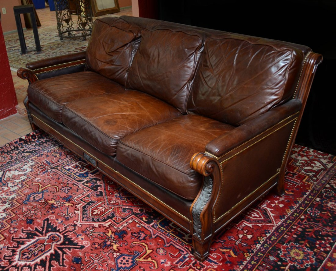Whittemore Sherrill Brown Leather Sofa