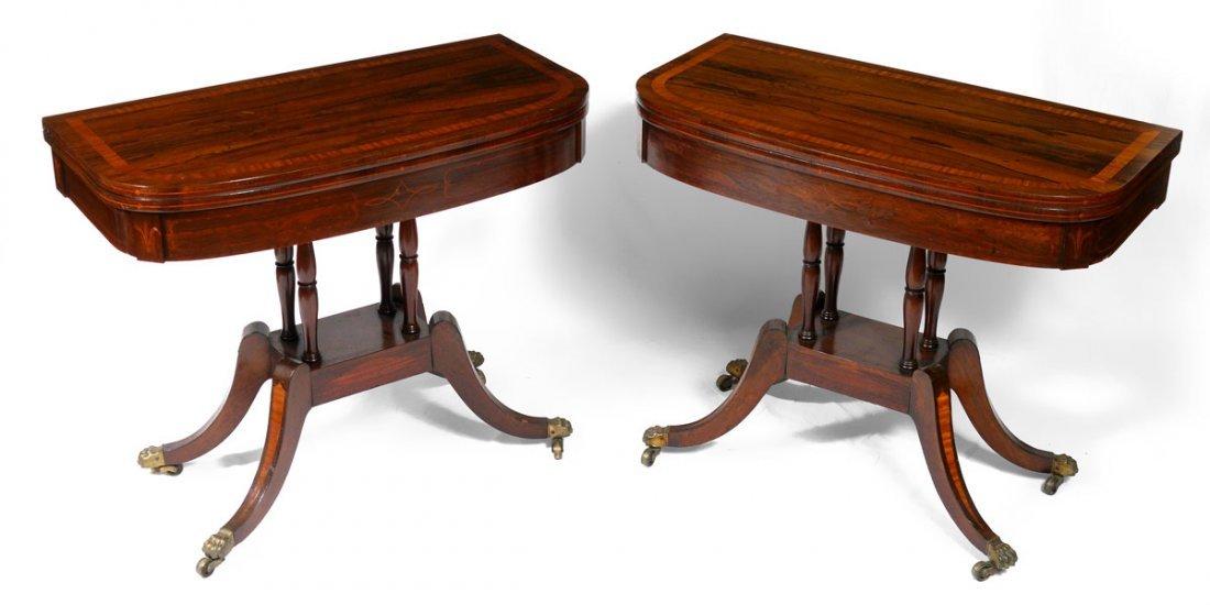 PAIR CIRCA 1815 REGENCY PERIOD GAME TABLES