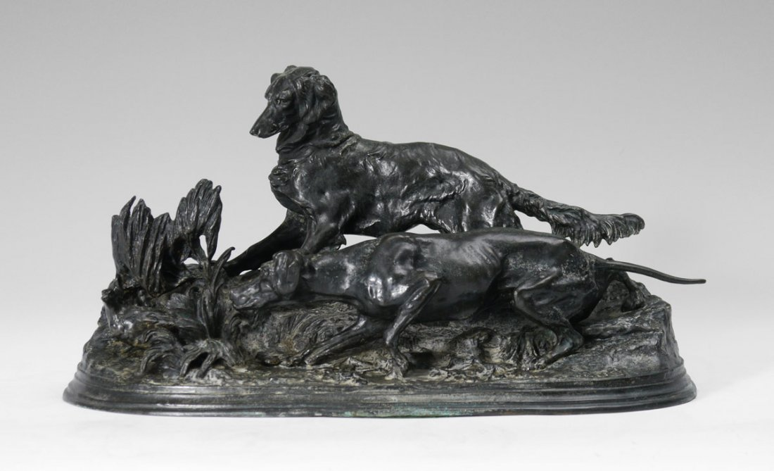 MENE BRONZE OF TWO HOUNDS AFTER A PARTRIDGE