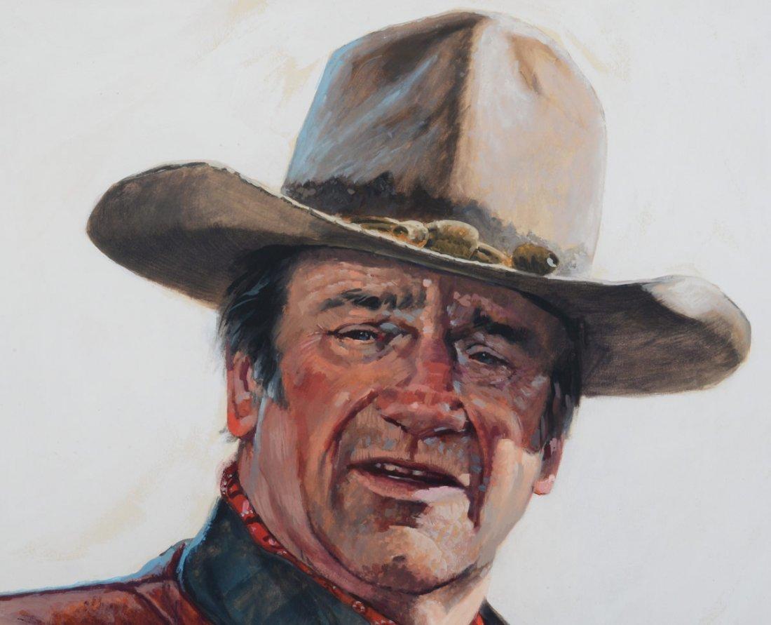 RARE JOHN WAYNE PORTRAIT PAINTING BY ROY HAMPTON - 4