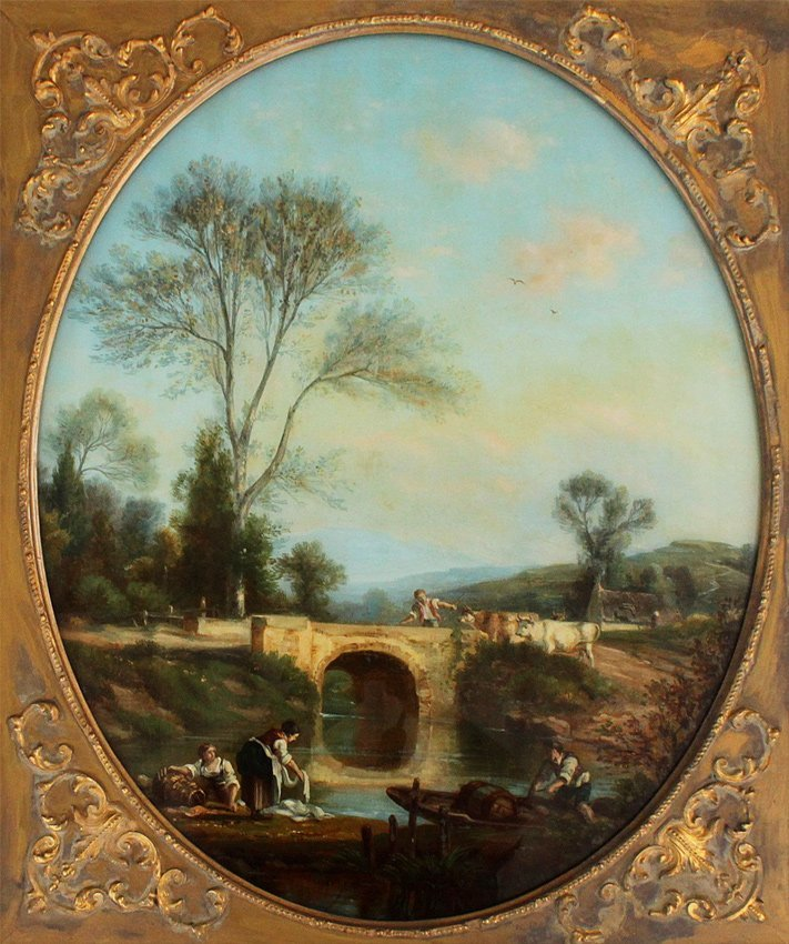 EXCEPTIONAL OLD MASTER STYLE REVERSE PAINTING