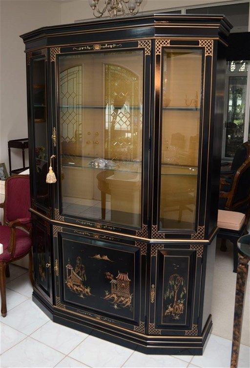 Chinese Style Black Lacquer China Cabinet Jul 21 2013 Burchard Galleries Inc In Fl