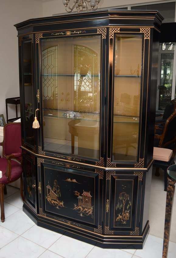 CHINESE STYLE BLACK LACQUER CHINA CABINET