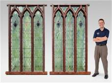 2 LARGE ARCHITECTURAL STAINED GLASS WINDOWS FROM ENGLIS