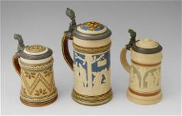 COLLECTION OF 3 METTLACH STEINS