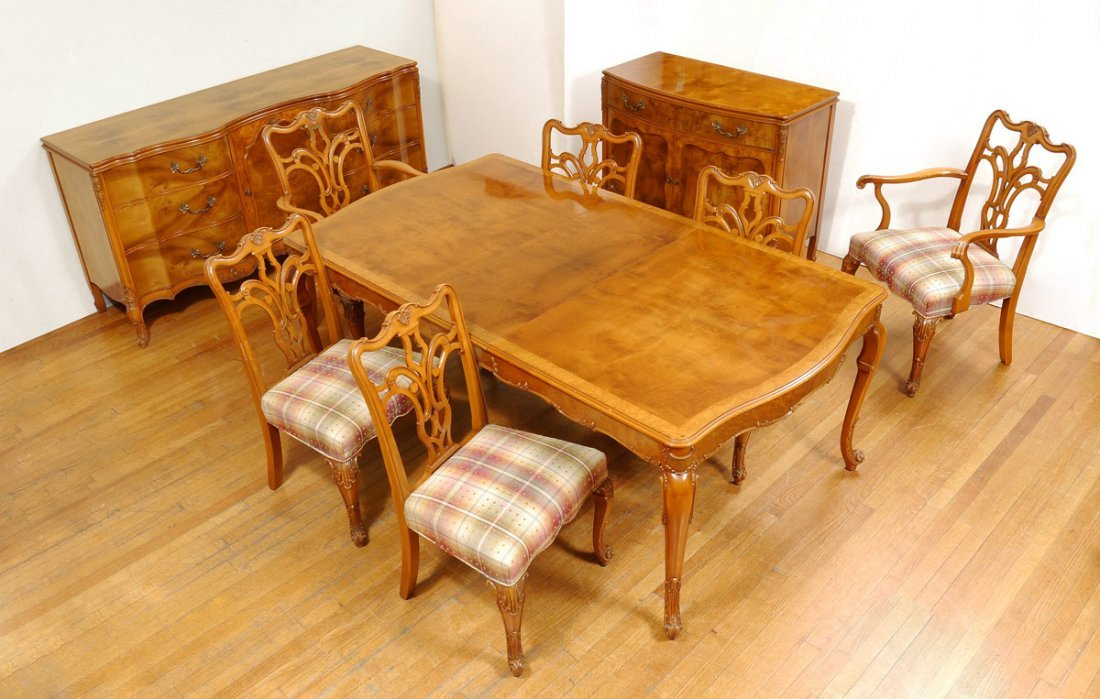 FRENCH STYLE BURL WOOD DINING SUITE