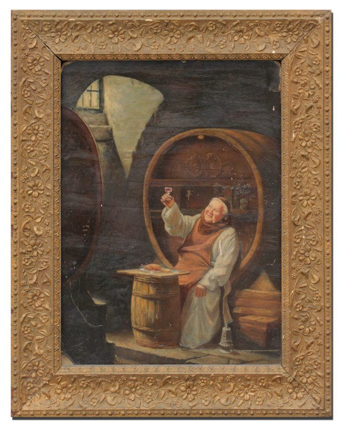 MONK IN THE WINE CELLAR PAINTING - 2
