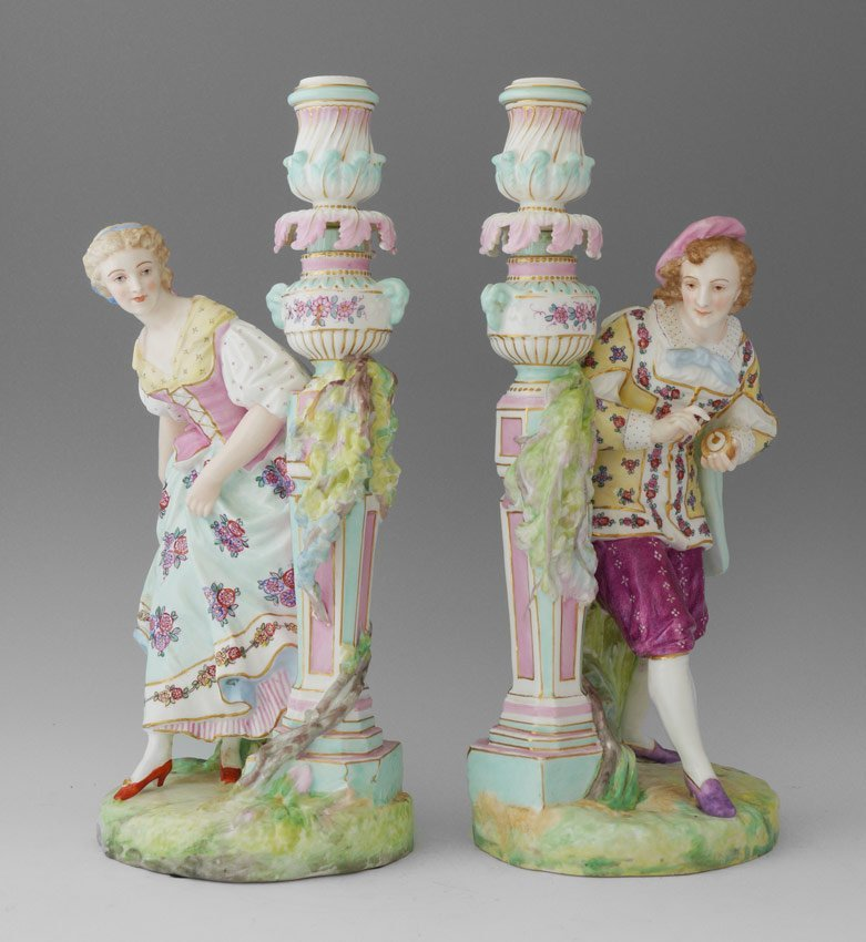 PAIR ANCHOR MARKED FIGURAL CANDLE HOLDERS