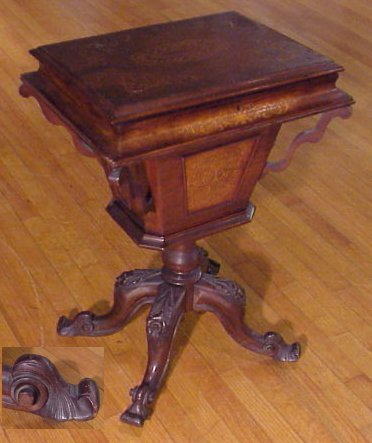 9B: CARVED TEAPOY TEA CADDY ON STAND