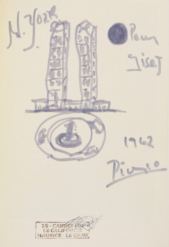 PABLO PICASSO TWIN TOWER DRAWING IN BOOK
