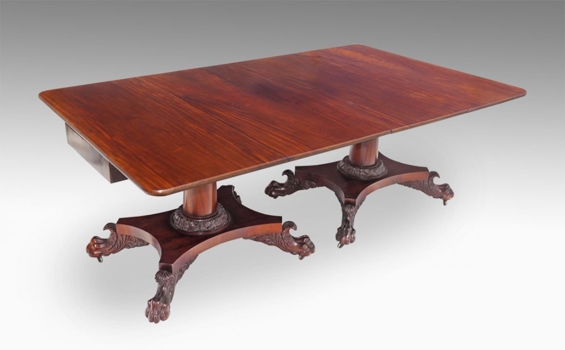 PERIOD EMPIRE DOUBLE PEDESTAL MAHOGANY TABLE