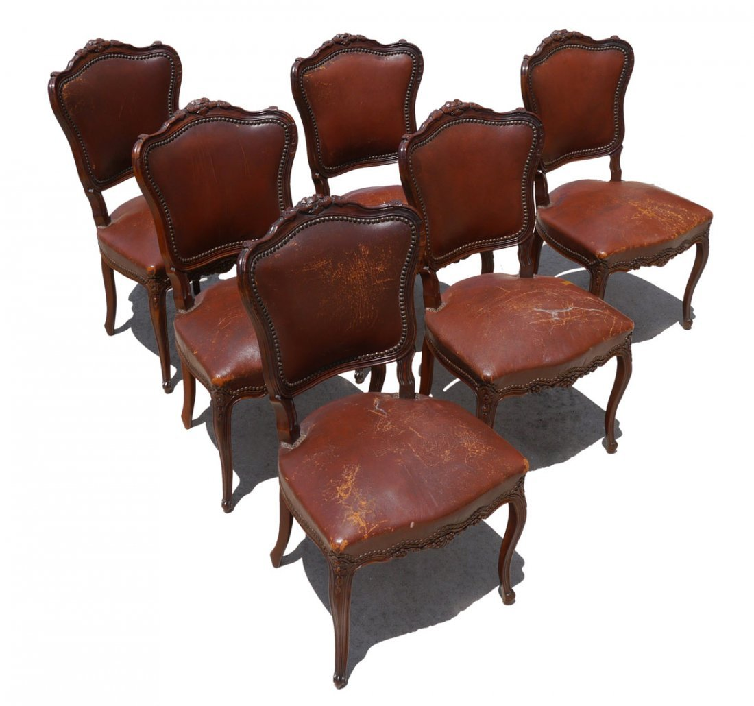 6 LOUIS XV STYLE LEATHER UPHOLSTERED CHAIRS