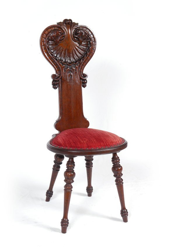 OAK CARVED SHELL BACK HALL CHAIR