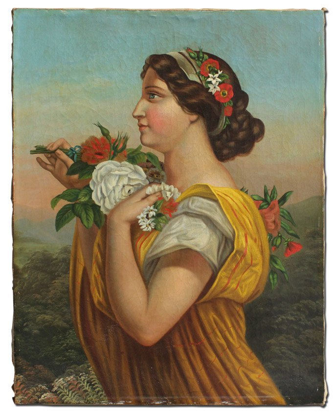 FRENCH SCHOOL 19TH C PORTRAIT OF MAIDEN